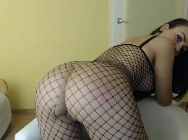 Youstinah Sexy Brunette In Fishnet Bodysuit